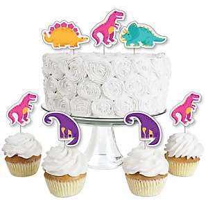 Roar Dinosaur Girl - Dessert Cupcake Toppers - Dino Mite T-Rex Baby Shower or Birthday Party Clear Treat Picks - Set of 24