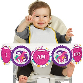 Roar Dinosaur Girl 1st Birthday - I am One - First Birthday High Chair Banner