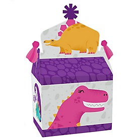 Roar Dinosaur Girl - Treat Box Party Favors - Dino Mite Trex Baby Shower or Birthday Party Goodie Gable Boxes - Set of 12