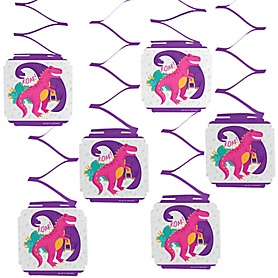 Roar Dinosaur Girl - Dino Mite T-Rex Party Hanging Decorations - 6 ct
