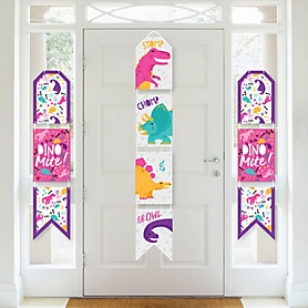 Roar Dinosaur Girl - Hanging Vertical Paper Door Banners - Dino Mite Trex Baby Shower or Birthday Party Wall Decoration Kit - Indoor Door Decor