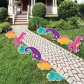 Roar Dinosaur Girl - Trex, Triceratops, Stegosaurus and Brontosaurus Lawn Decorations - Outdoor Dino Mite Baby Shower or Birthday Party Yard Decorations - 10 Piece