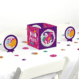 Roar Dinosaur Girl - Dino Mite T-Rex Baby Shower or Birthday Party Centerpiece & Table Decoration Kit