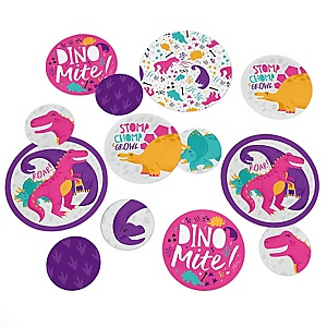 Roar Dinosaur Girl - Dino Mite T-Rex Baby Shower or Birthday Party Giant Circle Confetti - Party Decorations - Large Confetti 27 Count
