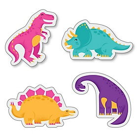 Roar Dinosaur Girl - DIY Shaped Dino Mite T-Rex Baby Shower or Birthday Party Cut-Outs - 24 ct