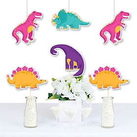 Roar Dinosaur Girl - Trex, Triceratops, Stegosaurus and Brontosaurus Decorations DIY Dino Mite Baby Shower or Birthday Party Essentials - Set of 20