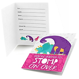 Roar Dinosaur Girl - Fill In  Dino Mite T-Rex Baby Shower or Birthday Party Invitations  - 8 ct