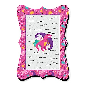 Roar Dinosaur Girl - Unique Alternative Guest Book - Dino Mite T-Rex Baby Shower or Birthday Party Signature Mat