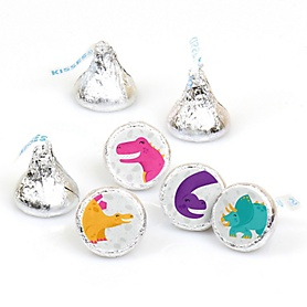 Roar Dinosaur Girl - Dino Mite T-Rex Baby Shower or Birthday Party Round Candy Sticker Favors - Labels Fit Hershey's Kisses - 108 ct