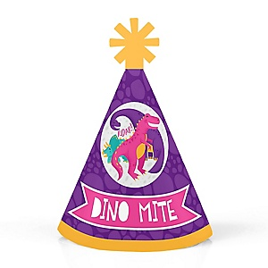 Roar Dinosaur Girl - Personalized Mini Cone Dino Mite T-Rex Baby Shower or Birthday Party Hats - Small Little Party Hats - Set of 10