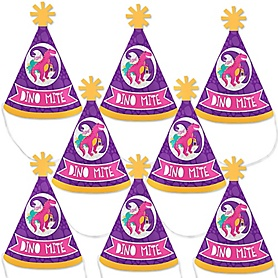 Roar Dinosaur Girl - Mini Cone Dino Mite T-Rex Baby Shower or Birthday Party Hats - Small Little Party Hats - Set of 8