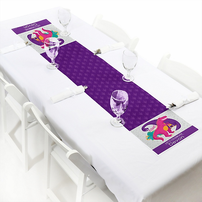 Roar Dinosaur Girl - Personalized Dino Mite T-Rex Party Petite Table Runner