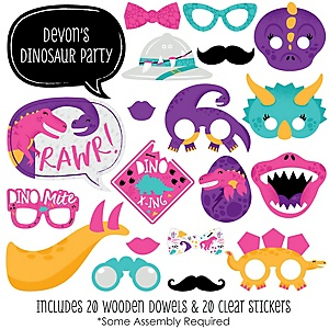Roar Dinosaur Girl - 20 Piece Dino Mite T-Rex Baby Shower or Birthday Party Photo Booth Props Kit