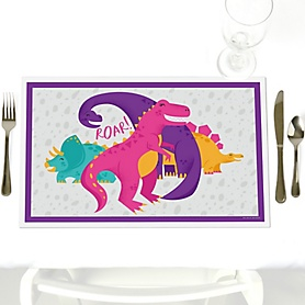 Roar Dinosaur Girl - Dino Mite T-Rex - Party Table Decorations - Party Placemats - Set of 12