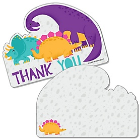 Roar Dinosaur Girl - Shaped Thank You Cards - Dino Mite T-Rex Baby Shower or Birthday Party Thank You Note Cards with Envelopes - Set of 12
