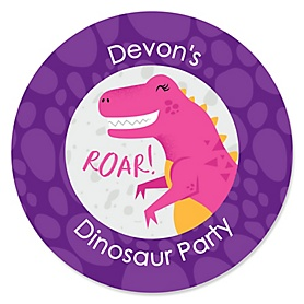 Roar Dinosaur Girl - Personalized Dino Mite T-Rex Baby Shower or Birthday Party Sticker Labels - 24 ct