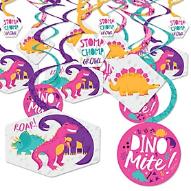 Roar Dinosaur Girl - Dino Mite Trex Baby Shower or Birthday Party Hanging Decor - Party Decoration Swirls - Set of 40