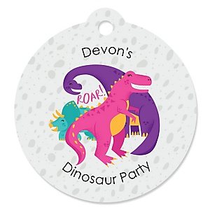 Roar Dinosaur Girl - Round Personalized Dino Mite T-Rex Party Tags - 20 ct