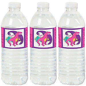 Roar Dinosaur Girl - Dino Mite T-Rex - Party Water Bottle Sticker Labels - Set of 20