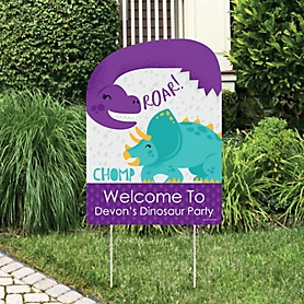 Roar Dinosaur Girl - Party Decorations - Dino Mite T-Rex Baby Shower or Birthday Party Personalized Welcome Yard Sign