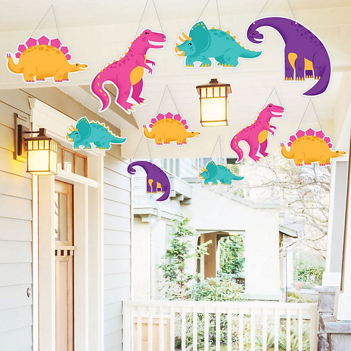 Hanging Roar Dinosaur Girl - Outdoor Dino Mite T-Rex Baby Shower or Birthday Party Hanging Porch and Tree Yard Decorations - 10 Pieces