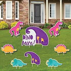 Roar Dinosaur Girl - Yard Sign and Outdoor Lawn Decorations - Dino Mite T-Rex Baby Shower or Birthday Party Yard Signs - Set of 8