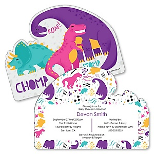 Roar Dinosaur Girl - Shaped Dino Mite T-Rex Baby Shower invitations - Set of 12