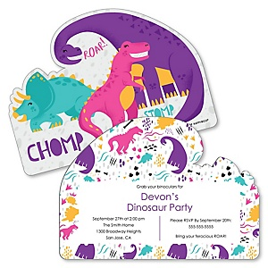 Roar Dinosaur Girl - Shaped Dino Mite T-Rex Birthday Party Invitations - Set of 12