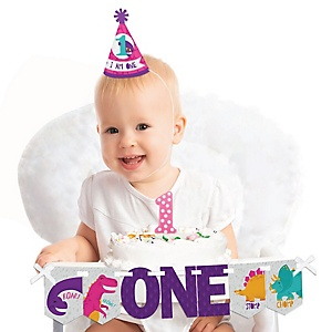 Roar Dinosaur Girl 1st Birthday - First Birthday Girl Smash Cake Decorating Kit - High Chair Decorations