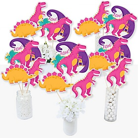 Roar Dinosaur Girl - Dino Mite T-Rex Baby Shower or Birthday Party Centerpiece Sticks - Table Toppers - Set of 15