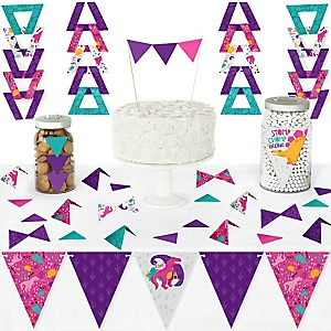 Roar Dinosaur Girl - DIY Pennant Banner Decorations - Dino Mite Trex Baby Shower or Birthday Party Triangle Kit - 99 Pieces