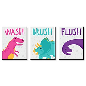 Roar Dinosaur Girl - Kids Bathroom Rules Wall Art - 7.5 x 10 inches - Set of 3 Signs - Wash, Brush, Flush