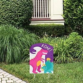Roar Dinosaur Girl - Outdoor Lawn Sign - Dino Mite Trex Baby Shower or Birthday Party Yard Sign - 1 Piece