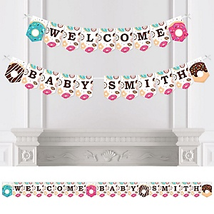 Donut Worry, Let's Party - Personalized Doughnut Baby Shower Bunting Banner and Decorations