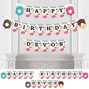 Donut Worry, Let's Party - Personalized Doughnut Birthday Party Bunting Banner and Decorations