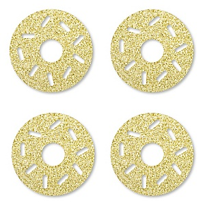 Gold Glitter Donut - No-Mess Real Gold Glitter Cut-Outs - Doughnut Party Confetti - Set of 24