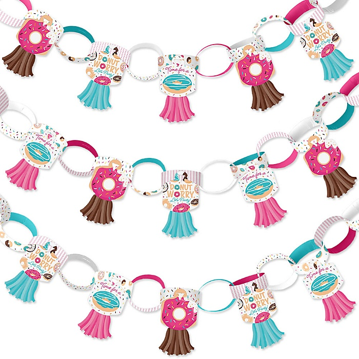 Donut Worry, Let's Party - 90 Chain Links and 30 Paper Tassels Decoration Kit - Doughnut Party Paper Chains Garland - 21 feet