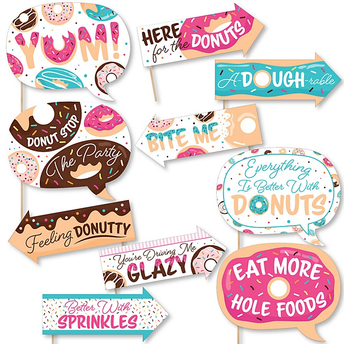 Funny Donut Worry, Let's Party - 10 Piece Doughnut Party Photo Booth Props Kit