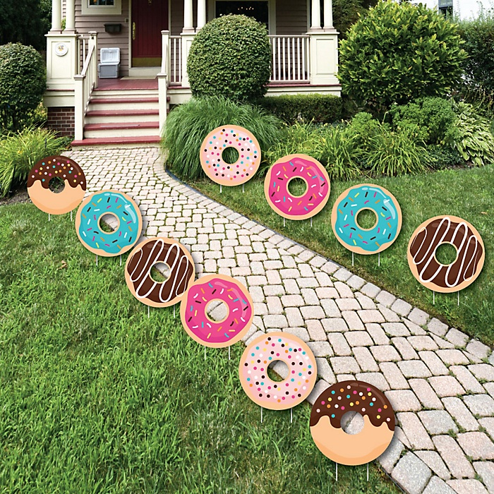 Donut Worry, Let's Party - Lawn Decorations - Outdoor Doughnut Party Yard Decorations - 10 Piece