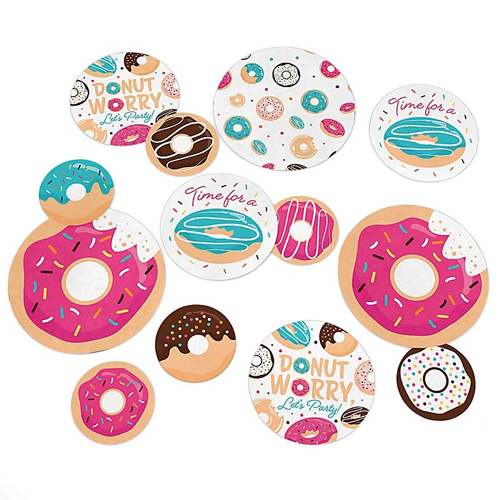 Donut Worry, Let's Party - Doughnut Party Giant Circle Confetti - Party Decorations - Large Confetti 27 Count