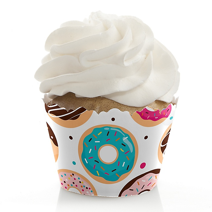 Donut Worry, Let's Party - Doughnut Party Decorations - Party Cupcake Wrappers - Set of 12