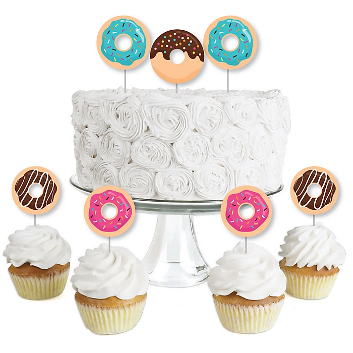 Donut Worry, Let's Party - Dessert Cupcake Toppers - Doughnut Party Clear Treat Picks - Set of 24