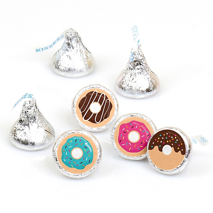 Donut Worry, Let's Party - Doughnut Party Round Candy Sticker Favors - Labels Fit Hershey's Kisses - 108 ct