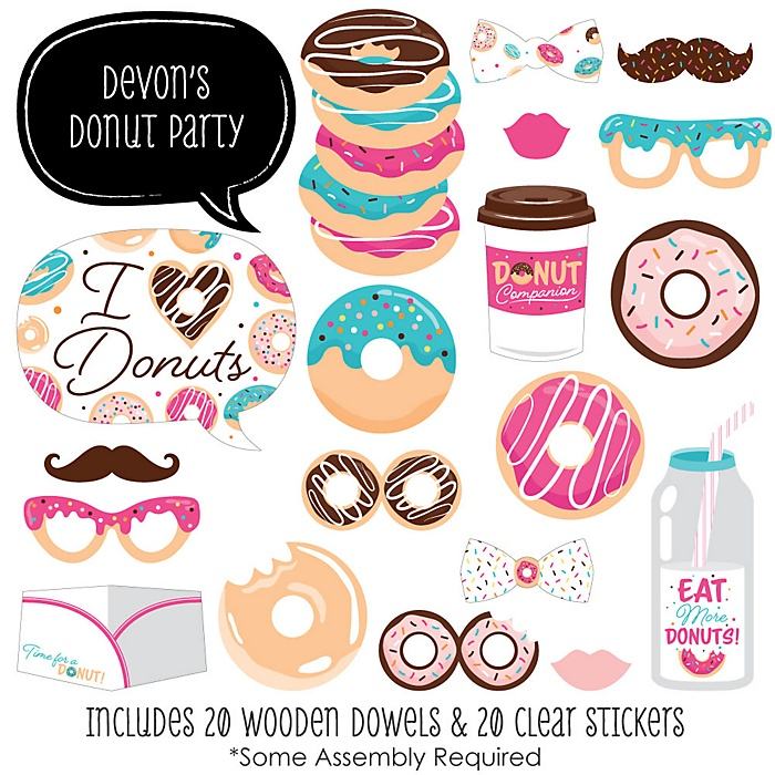 Donut Worry, Let's Party - 20 Piece Doughnut Party Photo Booth Props Kit