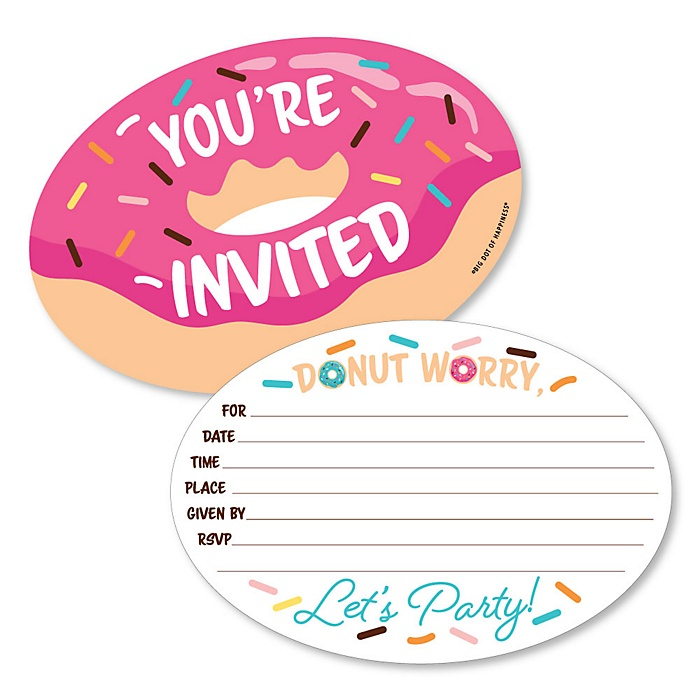 Donut Worry, Let's Party - Shaped Fill-In Invitations - Doughnut Party Invitation Cards with Envelopes - Set of 12