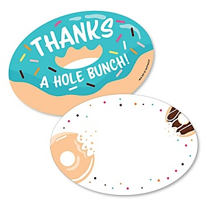 Donut Worry, Let's Party - Shaped Thank You Cards - Doughnut Party Thank You Note Cards with Envelopes - Set of 12