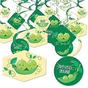 Double the Fun - Twins Two Peas in a Pod - Baby Shower or First Birthday Party Hanging Decor - Party Decoration Swirls - Set of 40