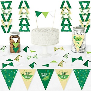 Double the Fun - Twins Two Peas in a Pod - DIY Pennant Banner Decorations - Baby Shower or First Birthday Party Triangle Kit - 99 Pieces