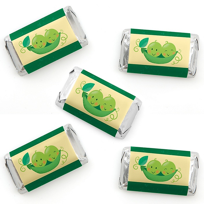 Double the Fun - Twins Two Peas in a Pod - Mini Candy Bar Wrapper Stickers - Baby Shower or First Birthday Party Small Favors - 40 Count
