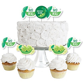 Double the Fun - Twins Two Peas in a Pod - Dessert Cupcake Toppers - Baby Shower or First Birthday Party Clear Treat Picks - Set of 24